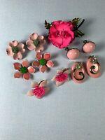 Variety Pink Lot Metal Enamel Flower Earrings 1 Pin Brooch