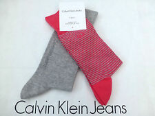 CALVIN KLEIN Abito calzino strisce / plain Lusso Cotone Crew ROSA / GRY Socks 2P / P NUOVO con confezione