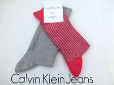 CALVIN KLEIN Dress Sock Stripe/Plain UK 5.5-8 Cotton Pink & Grey Socks 2p/p BNIP