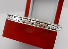 "Vintage Sterling Silver Swirl Round Bangle Bracelet 2.5"""