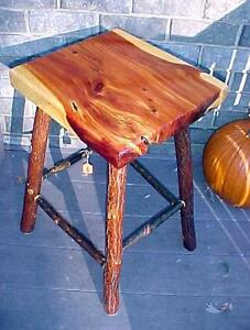 CEDAR LOG/home TABLE/stool SASSAFRAS & HICKORY~rustic furniture/coffee-end