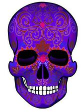 "SUGAR SKULL Dia de los Muertos MINI STICKERS Day of Dead  Purple 2"" tall  4-pack"