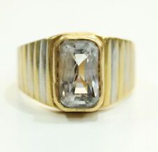 A++ 6.49 ct Certified Ceylon Natural White Sapphire 20k Solid Gold Ring Unisex