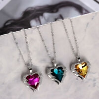 S925 Silver  Angel Wings Necklace Crystal Heart Pendant Rhinestone-studded