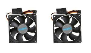 2 x 92mm Black PC Case Fans 3/4-Pin Connector 1800RPM 22.5dB Low Noise 9CM 90mm