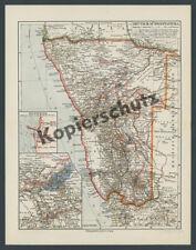 orig Karte DSWA Schutztruppe Deimling Estorff Marschrouten Gefechte Hereros 1904