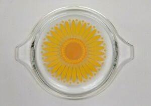 Vintage Pyrex Sunflower Daisy Flower Yellow Orange Clear Glass Lid Only 470-C #C