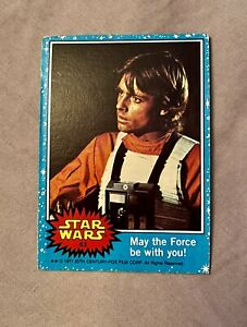 1977 Topps Star Wars Series 1 Blue Luke Skywalker ~ May the Force Be With You