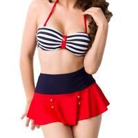 Women's Retro Pinup High Waist Skirted Swimwear Swimsuit Bikini Set-S/M/L/XL/2XL