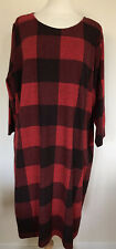 BNWT MARKS & SPENCER RED BLACK CHECK JERSEY TUNIC SHIFT DRESS UK PLUS SIZE 26