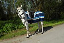 Rhinegold 3/4 Length Blue Striped Soft Fleece Ride On Horse Pony Exercise Rug