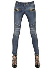 BALMAIN WOMEN BLUE STRETCH BIKER SKINNY JEANS FREE SHIPPING WORLDWIDE