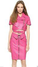 New Women Pink Genuine Lambskin Leather Evening Cocktail Ladies Dress WD035