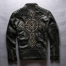 SOLDE blouson cuir moto mode vintage biker croix de malte harley bobber chopper