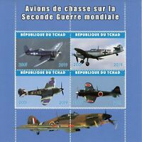 Chad Military Aviation Stamps 2019 MNH WWII WW2 Fighter Planes 4v M/S