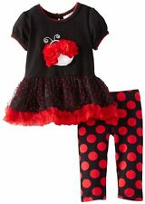 RARE EDITIONS Baby Girls Ladybug Dot Tutu Legging Set Black/Red Size 6 M Outfit