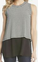 NWT Women's Karen Kane Contrast Tank Top Black/White Stripe Size S