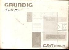 deutsche Bedienungsanleitung GRUNDIG EC 4600 RDS  Autoradio