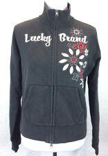 #S29 Lucky Brand Sz L Full Zip Embroidered Flower Floral Fleece Sweatshirt