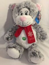 "Pet Smart LUCKY gray white Christmas CAT pet plush 15"" toy w/squeaker NWT 2015"