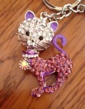 UK Crystal Diamante kitten cat purple Purse Keyring Charm gift rhinestone 6032