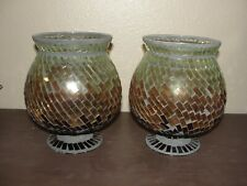 Glass Hurricane Shades of Brown Mosaic for Candle Holders  Pair