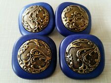 4- Vtg Faux Brass Inlay on Blue Celluloid Buttons.*B. BLUMENTHAL & CO. * 1-3/8""