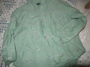 euc Lands' End green pointer dog long sleeve button shirt boys 5 free ship USA