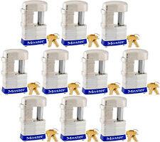 Lock Set by Master 37KA (lot of 10) Keyed Alike Shrouded Laminated Padlocks New