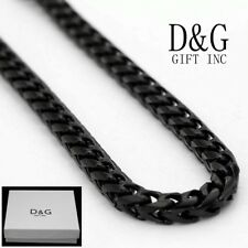 """5mm Smooth Franco Chain Necklace,Box Dg Men's 36"""" Long Black Stainless-Steel."""