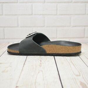 Women's Birkenstock Madrid Big Buckle Black Leather Flat Buckle Sandals RRP £92