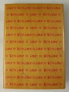 "Hampton Art Rubber Background Stamp With Love Valentine Hearts 4.5"" x 3.25"""