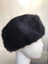 ladies vintage black faux fur pillbox style hat shorter cossack hat