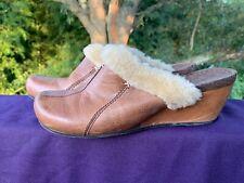 Bare Traps Leather Fur Accent Clogs Mules Slides Flats Wedges Shoes 7 ��sj17j10