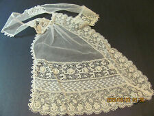 Antique Ladies Ivory White Asymmetrical Ruffled Fine Net Lace Ascot Collar S8