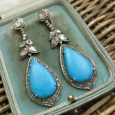 BEAUTIFUL INDIAN ANTIQUE OR VINTAGE SILVER & GOLD TURQUOISE & DIAMOND EARRINGS