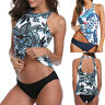 Womens Halter Swimsuit Neck Tankini Floral Top + Brief Beach Bikini Set Swimwear
