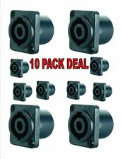 5Pairs Speakon Female Jack 4 Pin Compatible Audio Cable Adapter Connector Black