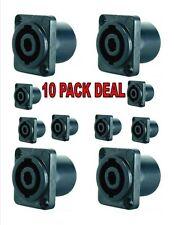 Speakon 4 Pin Female Jack Compatible Audio Cable Connector Black 5Pair=10Jacks