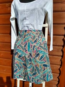 Fab new fine crisp cotton ex White Stuff  lined fern print skirt