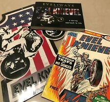 EVEL KNIEVEL DAREDEVIL AUTOGRAPH BOOK TIN SIGN MARVEL COMIC RARE PACKAGE