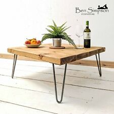 Rustic Coffee Table Chunky Solid Wood With Hairpin Legs BEN SIMPSON FURNITURE
