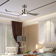 "52"" Ceiling Fan Remote Control Brushed Nickel with 2 Abs Blades Led Light Kit"