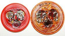 Lot 2 jetons Casino Vichy 500 et 5000 Francs