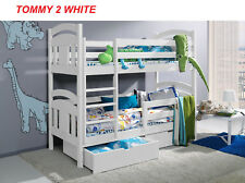 Wooden Bunk Beds For Kids With Storage  Mattresses  White solid pine 2ft6 short