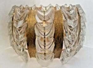Austrian Crystal Chandelier Gilt Textured Brass & Layered Glass Ceiling Fixture
