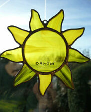 More details for stained glass sun - handmade - wispy yellow - 5 ins (13 cms) diameter new