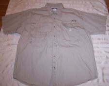 Columbia Vented PFG Short Sleeve Button Front Tan Outdoors Shirt Mens Sz Large