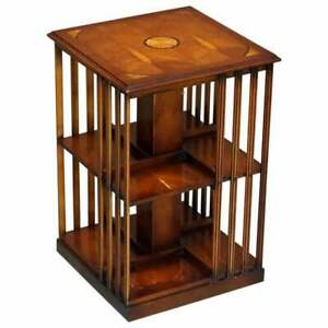 STUNNING SHERATON REVIVAL BURR YEW & SATINWOOD REVOLVING BOOKCASE SIDE END TABLE