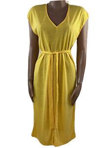SELECTED FEMME Ivy V Neck Slit Yellow Tshirt Midi Dress Size L (12-14)